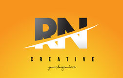 RN R N Letter Modern Logo Design with Yellow Background and Swoo Stock Photography
