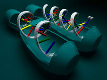 RNA with DNA,3D rendering Royalty Free Stock Photo