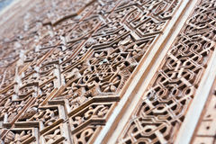 Rnamental design av förgyllt rum (den Cuarto doradoen) på Alhambra Arkivbilder