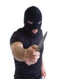 Rånare med maskerat Fotografering för Bildbyråer