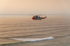RNAS helicopter rescue Perranporth Cornwall Royalty Free Stock Image