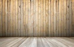 Rndering d'intérieur avec le mur et le plancher en bois Image libre de droits