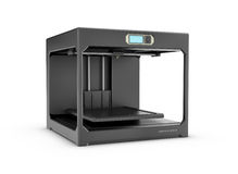 Rndering da impressora preta do desktop 3d isolada no fundo branco Fotos de Stock Royalty Free