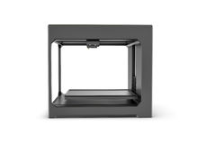 Rndering da impressora preta do desktop 3d isolada no fundo branco Foto de Stock
