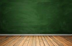 Rndering dell'interno con la lavagna verde ed il pavimento di legno Immagini Stock Libere da Diritti