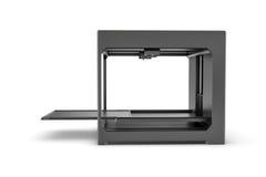 Rndering della stampante nera del desktop 3d isolata sui precedenti bianchi Fotografie Stock Libere da Diritti