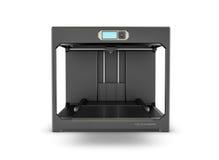 Rndering della stampante nera del desktop 3d isolata sui precedenti bianchi Fotografia Stock