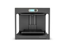 Rndering van zwarte die Desktop 3d printer op de witte achtergrond wordt geïsoleerd Royalty-vrije Stock Foto