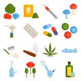 Różni pastylek pigułek kapsuły rozsypiska mieszanki terapii leki fabrykują grypowego antybiotycznego apteka wektoru set Obraz Stock