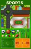 Różni sportów equipments, sądy jakby i Fotografia Royalty Free