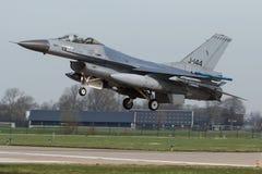 322 RNLAF的sqn F-16A在弗里斯兰省人旗子锻炼期间的 免版税库存图片