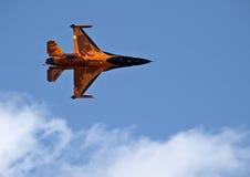 RNLAF F-16在加力燃烧室的战斗猎鹰 库存照片