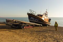 RNLB Cosandra, a Shannon class lifeboat, visits Hastings Lifeboat Station. Stock Images