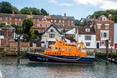 RNLI Earnest and Mabel at Weymouth, Dorset, UK. Royal National Lifeboat Institution lifeboat `Earnest and Mabel` berthed at Weymouth Harbor in Dorset. This royalty free stock photo