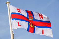 RNLI Flag. The Royal National Lifeboat Institute flag at Mablethorpe Lincolnshire Royalty Free Stock Photo