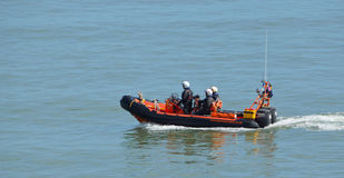 RNLI Inshore rescue boat and crew at Felixstowe Stock Images