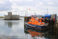 RNLI lifeboat and historic castle Stock Images