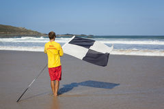 RNLI LIfeguard on Porthmeor beach Royalty Free Stock Photos