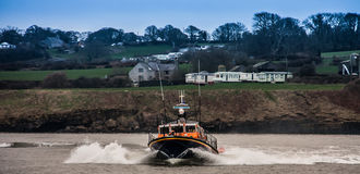 The RNLI Moelfre Lifeboat station with a Tyne Class All Weather Stock Photography