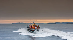 The RNLI Moelfre Lifeboat station with a Tyne Class All Weather Royalty Free Stock Image