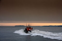 The RNLI Moelfre Lifeboat station with a Tyne Class All Weather Royalty Free Stock Images