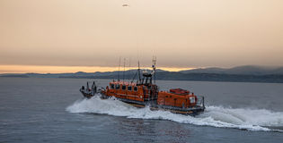 The RNLI Moelfre Lifeboat station with a Tyne Class All Weather Royalty Free Stock Photos