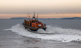 The RNLI Moelfre Lifeboat station with a Tyne Class All Weather Royalty Free Stock Photography