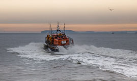 The RNLI Moelfre Lifeboat station with a Tyne Class All Weather Stock Photo
