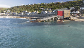 RNLI station and slipway at Sennen Cove in Cornwall Stock Image