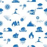 Różnorodni katastrofa naturalna problemy w światowych błękitnych ikon bezszwowym wzorze eps10 Obrazy Royalty Free