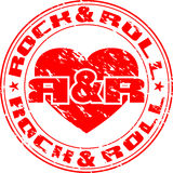 Rnr stamp. Vector image of an impress of seal with heart and an inscription rock n roll Stock Images