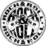 Rnr stamp. Vector image print an old seal with guitars Stock Illustration