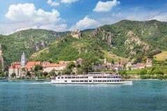 Rnstein del ¼ di DÃ con il Danubio, Wachau, Austria Fotografie Stock