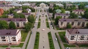 Rnstreet Gagarin in the city of Almetyevsk. With the height of the bird`s flight Stock Photos