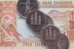 Różny pieniądze Arabski emiratu Dirham Zdjęcia Stock