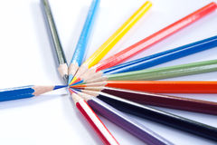 Rnyamhey crayon. Shaped the direction to each other Royalty Free Stock Images