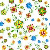 Roślina bezszwowy wzór z kwiatami i liśćmi ilustracja wektor