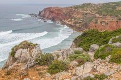 Roślinność, falezy i ocean w Cabo De Sao Vincente, Fotografia Stock