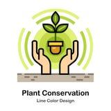 Rośliny konserwaci linii koloru ikona ilustracja wektor
