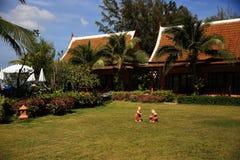 Rośliny w hotelowym terenie, Phra Ae plaża, Ko Lanta, Tajlandia Obraz Stock