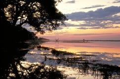 Río de Chobe en la puesta del sol Fotografía de archivo