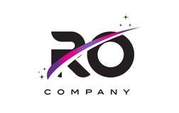 RO de Zwarte Brief Logo Design van R O met Purpere Magenta Swoosh vector illustratie