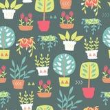 Rośliny w garnka wzorze Fotografia Royalty Free