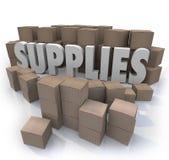Ro necesario de la acción de los recursos materiales de la comida de las cajas de cartón de las fuentes Imágenes de archivo libres de regalías