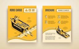 Ro-ro cargo company ad brochure isometric vector vector illustration
