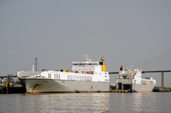 Ro-Ro Cargo Ships Berthed on the Thames London Royalty Free Stock Images
