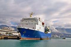 Ro-ro Sevastopol IMO 7822184 in Tsemess Bay. Novorossiysk, Russia - March 31, 2016: Ro-ro passenger ferry `Sevastopol` IMO 7822184. Tsemess Bay Royalty Free Stock Image