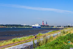 Ro / Ro ship on its way to the port. Royalty Free Stock Photo