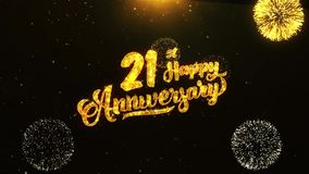 21ro saludo feliz del texto del aniversario, deseos, celebración, fondo de la invitación metrajes