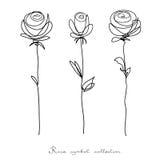 ro Samlingen av den isolerade blomman skissar på vit bakgrund royaltyfri illustrationer